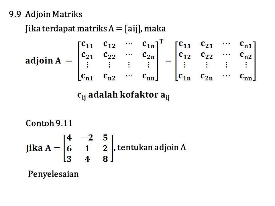 9.9 Adjoin Matriks Jika terdapat matriks A = [aij], maka.